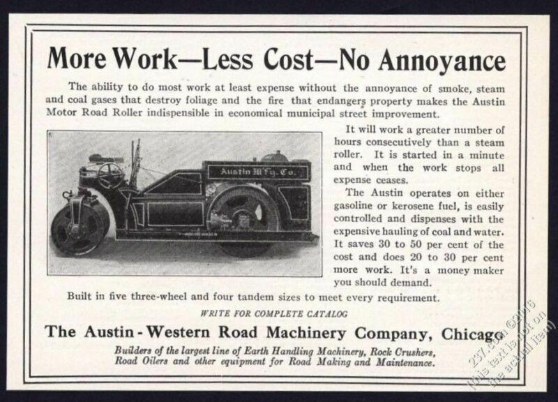 1917 Austin Western road roller photo vintage print ad