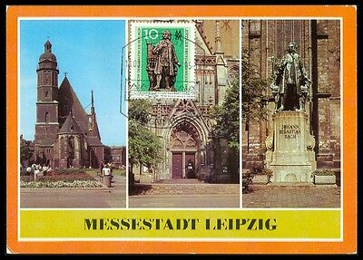 DDR MK 1985 LEPZIG BACH-DENKMAL PRIVATE !! MAXIMUMKARTE MAXIMUM CARD MC CM bd13
