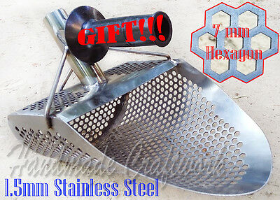 *HEXAHEDRON* 1.5mm Stainless Steel Beach Sand Scoop Metal Detecting Hunting Tool