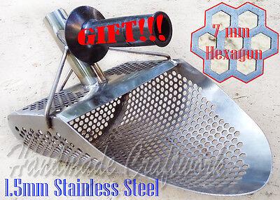 *HEXAHEDRON* 1.5mm Stainless Steel Beach Sand Scoop Metal Detecting Hunting Tool