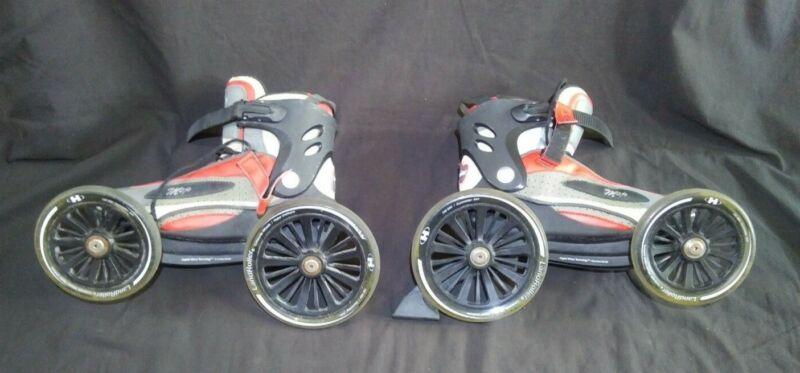 Landroller MOJO rollerblades skates mens size 11 womens size 12 red black grey