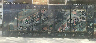 Vintage 12 Panel Hand Painted Carved Lacquer Chinese Room DIvider