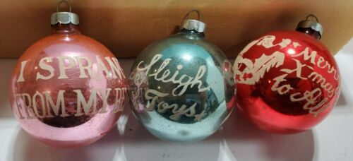 """VINTAGE CHRISTMAS ORNAMENTS-TWAS THE NIGHT BEFORE  SET of  3. Stencil  2 5/8"""""""