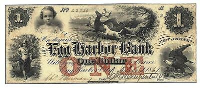 1861  1 The Egg Harbor Bank   New Jersey Note Civil War Era Red One  High Grade
