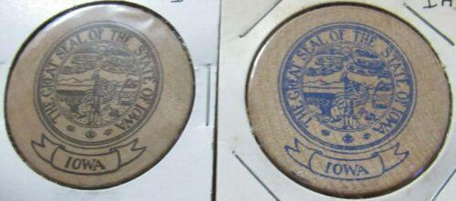 Lot of 2 Vintage State of Iowa Wooden Nickels - Token IA