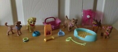 Barbie Mattel I Love Pets Puppies 5 Dogs & Accessories Set LOT