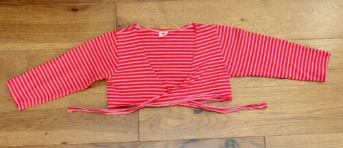 Herzilein RED STRIPE DANCE WRAP sz 5 6 Girls Ballet Tap Jazz Top Pink EU 98/104