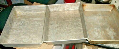 3 Vintage Aluminum Cake/Brownie/Lasagna Pans 1 Mirro Unbranded 13 X9 Many Stains