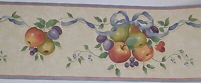 Maxwell FRUIT BUNCHES BLUE TRIM KITCHEN Prepasted Wallpaper Border 5 Yards