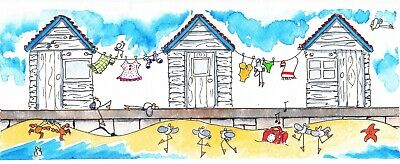 oRiGiNaL WaTeRCoLoR ~ DaNCiNG oN THE BeACH  ~ beach hut fish (Hut On The Beach)