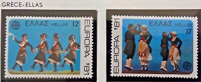 2 X Timbre Stamp Grèce Ellas Greece 1981 YT 1423 1424 EUROPA CEPT Neufs