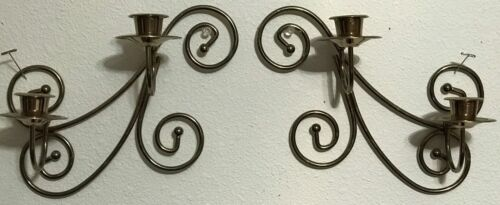 "Homco Home Interiors Two Double Arm Sconces With Cascading Swirls 10"" Tall x 10"""