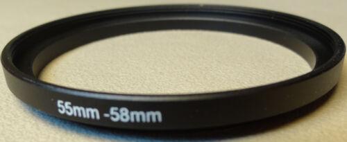 New 55mm to 58mm Step Up Lens Filter Ring Metal DSLR SLR Digital Camera Adapter