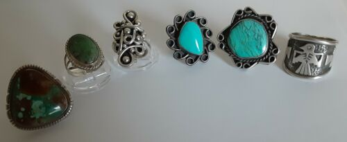 WOW Rare VINTAGE NATIVE RING Lot 6 STERLING SIVLER Quality Mix TURQUOISE JEWELRY