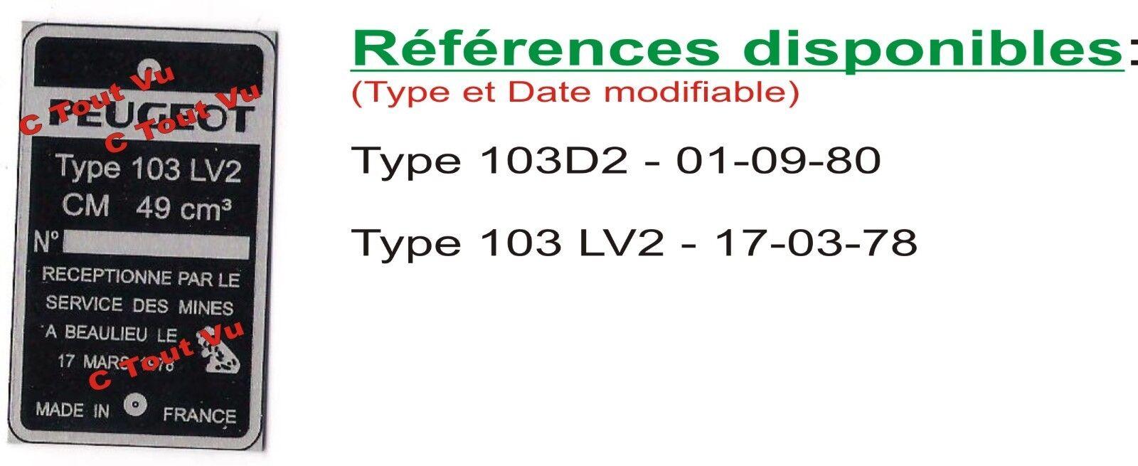PLAQUE CONSTRUCTEUR  PEUGEOT 103 D2, 103 LV2 – VIN PLATE PEUGEOT 103 D2, 103 LV2