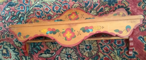 Cheerful antique hand painted folk art towel rack with shelf toleware primitive