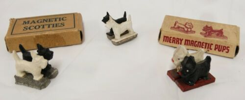 Vintage Magnetic Tricky Dogs Black & White Scottie Terrier Dog Westie Lot of 3