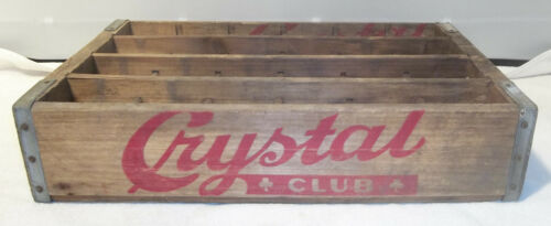 Vintage Crystal Club Soda Beverage Bottle Wood Carry Case Crate Scranton Pa