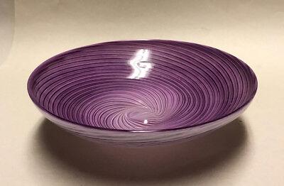 "Church & Maple Art Glass Bowl, Purple/Lavender Swirl, Handmade Vermont, 8 1/2"""