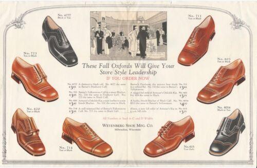 1920s Weyenberg Shoe Mfg. Co. Men's Oxfords Folding Brochure