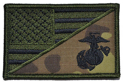 USA FLAG MARINE CORPS USMC MILTICAM TACTICAL MORALE HOOK PATCH (MT1)