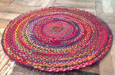 Indian Handmde Cotton Round Floor Rug 2x2 Feet Yoga Mat Multi Color Area Rug