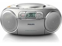 Philips AZ127/05 Boombox Portable Bass Boost CD and Cassette Player - Silver