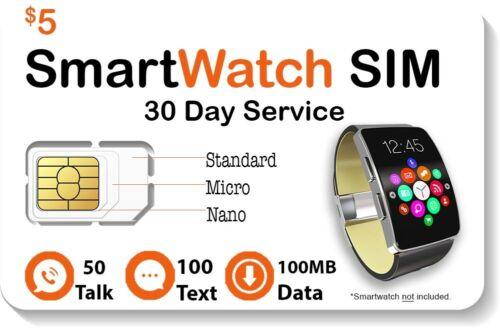 $5 Smart Watch SIM Card For 4G LTE GSM Smartwatches Wearables