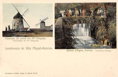 Sao Miguel Island Portugal scenic view windmills villagers antique pc Z12105