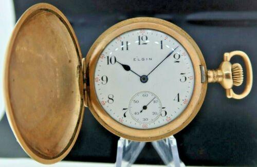 Antique 6 Size Elgin 15J Manual Wind Hunter Pocket Watch Grade 295 Gold Filled