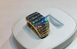 LARGE BOSS 14KT ROLEX STYLE MENS 2.57CT DIAMOND RING, STUNNER