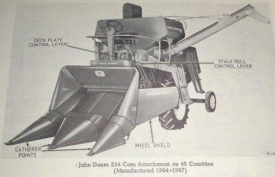 John Deere 234 Corn Head Attachment Parts Catalog Manual Fits 45 55 Combines