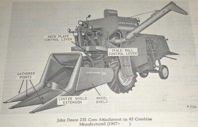 John Deere 235 Corn Head Attachment Parts Catalog Manual Fits 45 55 Combines