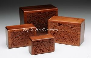 Rosewood Cremation Urn Hand-carved Tree of Life Design - Small (Pet) Size