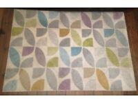 Modern Rug w/ Kaleidoscope Patterns in Cream, Grey, Aqua, Purple, Dark Yellow, Green