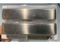 Stainless Steel Effect Kitchen Cupboard Door Square D-Handle by Gara x3 packs