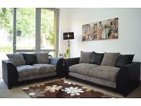 ***BLACK LEATHER + GREY CORD*** BRAND NEW JUMBO CORD BYRON CORNER / 3+2 SOFA SET -BEST SELLING BRAND