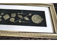engraving brass deco ornaments in golden frame £35