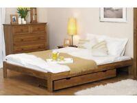 Wooden Pine Wood Bed Frame 3FT Single 120x190 Oak