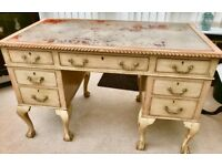 Chippendale 1920's antique vintage writing desk bleached mahogony aged leather top