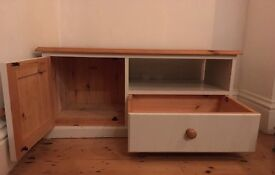 Solid Pine TV Cabinet with cupboard & drawer