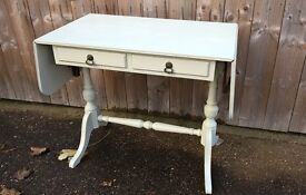 Hand painted 2 drawer drop leaf Console Table on ornate legs