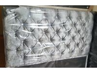 Luxury Crushed Velvet Divan Bed and 145cm High Floor Standing Diamante/Buttoned Headboard