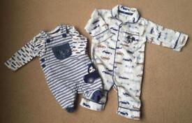Disney 0-3 month baby clothes bundle - dungarees, top and pyjamas