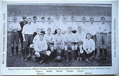 BOLTON WANDERERS F.C. 1905-06 VINTAGE FOOTBALL POSTCARD