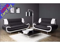*COME AND VIEW IT ,TRY IT THEN BUY IT* NEW CAROL 3+2 SEATER SOFA SUITE BLACK/WHITE