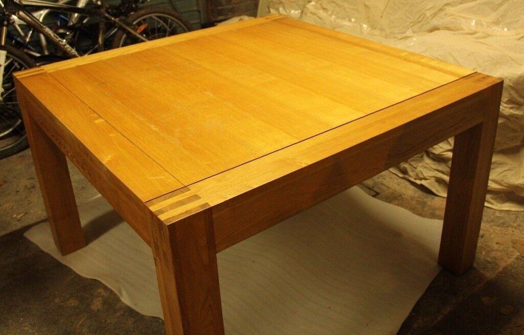 Solid Oak Dining Table Square Light Oak Colour Used Good