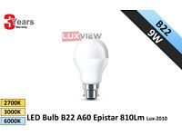 9W LED Bulbs B22 A60 Epistar 810Lm 2700K-3000K-6000K (Lux-2010)