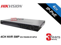 Hikvision Network Video Recorder 4Channel 5Megapixel (DS-7604NI-E1/4P/A) - Upto 4TB HDD