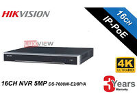 Hikvision Network Video Recorder NVR 16 Channel 4K (DS-7616-NI-12/16P) -Upto 8TB HDD